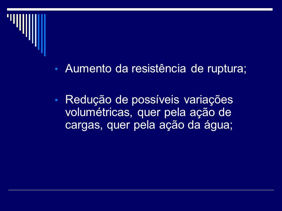 Aumento da resistência de ruptura; Redução de possíveis variações volumétricas, quer pela ação de cargas, quer pela ação da água;