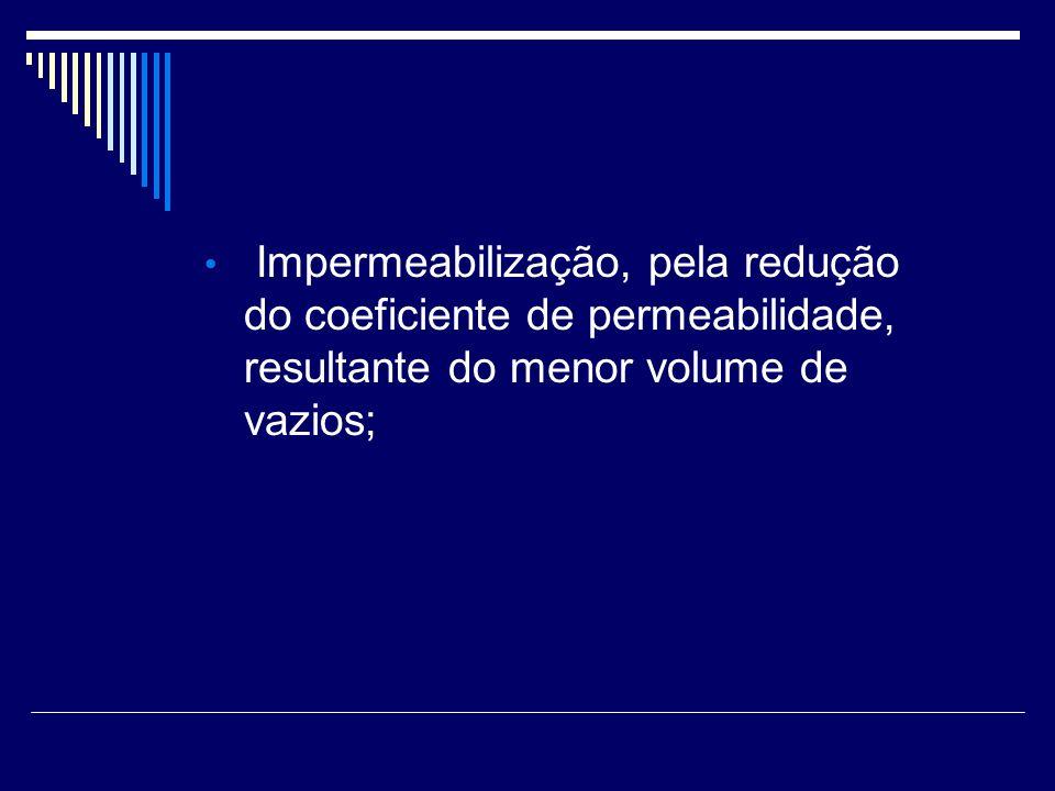 Impermeabilização, pela redução do coeficiente de permeabilidade, resultante do menor volume de vazios;