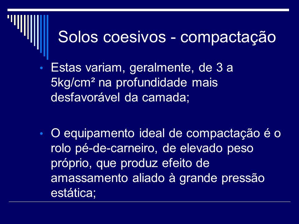 Solos coesivos - compactação Estas variam, geralmente, de 3 a 5kg/cm² na profundidade mais desfavorável da camada; O equipamento ideal de compactação