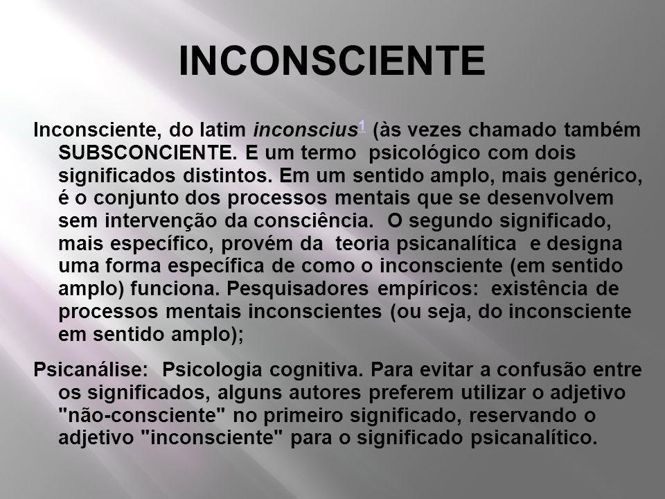 INCONSCIENTE Inconsciente, do latim inconscius 1 (às vezes chamado também SUBSCONCIENTE. E um termo psicológico com dois significados distintos. Em um