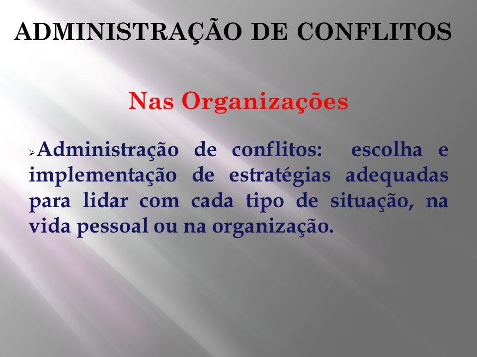 ADMINISTRAÇÃO DE CONFLITOS Nas Organizações Administração de conflitos: escolha e implementação de estratégias adequadas para lidar com cada tipo de s