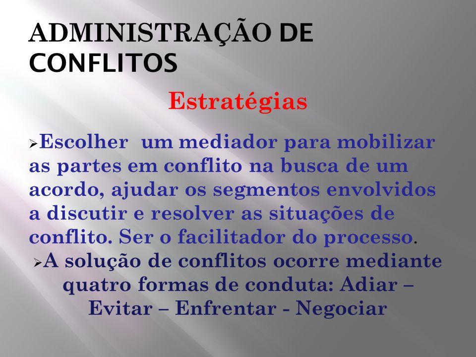 ADMINISTRAÇÃO DE CONFLITOS Estratégias Escolher um mediador para mobilizar as partes em conflito na busca de um acordo, ajudar os segmentos envolvidos