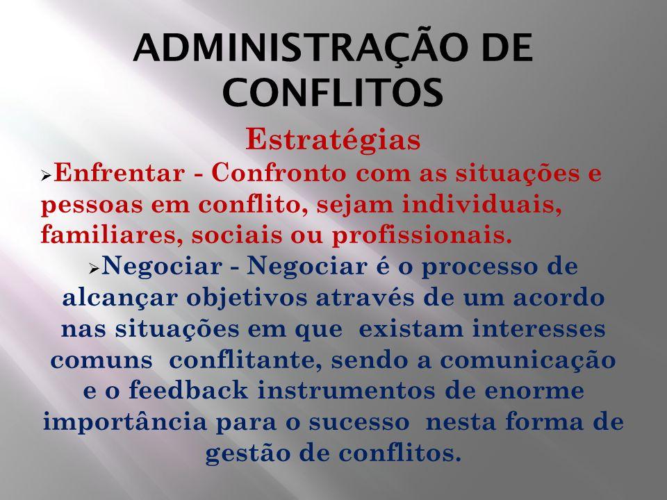 ADMINISTRAÇÃO DE CONFLITOS Estratégias Enfrentar - Confronto com as situações e pessoas em conflito, sejam individuais, familiares, sociais ou profiss