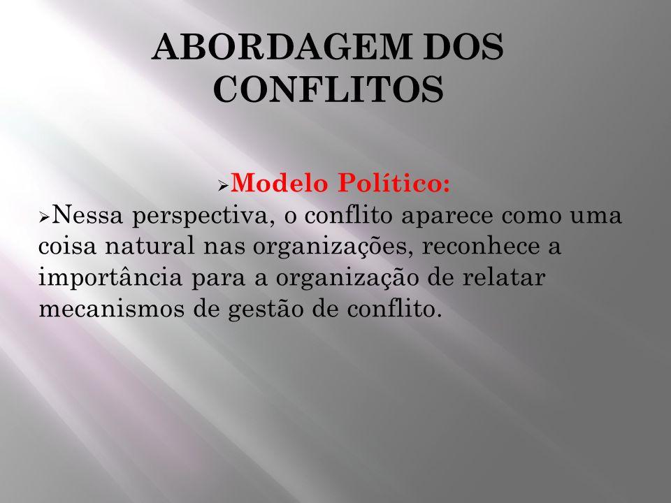 ABORDAGEM DOS CONFLITOS Modelo Político: Nessa perspectiva, o conflito aparece como uma coisa natural nas organizações, reconhece a importância para a