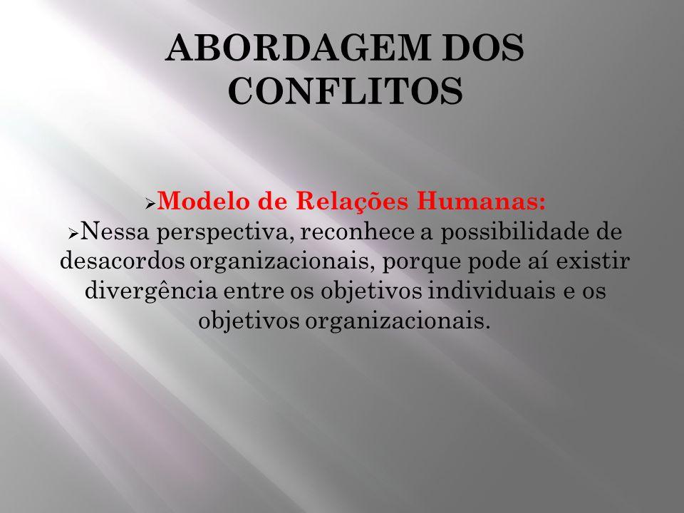 ABORDAGEM DOS CONFLITOS Modelo de Relações Humanas: Nessa perspectiva, reconhece a possibilidade de desacordos organizacionais, porque pode aí existir
