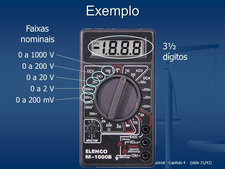 Fundamentos da Metrologia Científica e Industrial - Capítulo 4 - (slide 21/42) Exemplo 3½ dígitos 0 a 1000 V 0 a 200 V 0 a 20 V 0 a 2 V 0 a 200 mV Fai