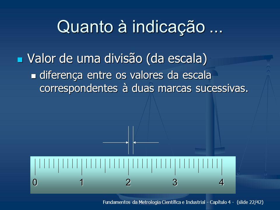 Fundamentos da Metrologia Científica e Industrial - Capítulo 4 - (slide 22/42) Quanto à indicação... Valor de uma divisão (da escala) Valor de uma div