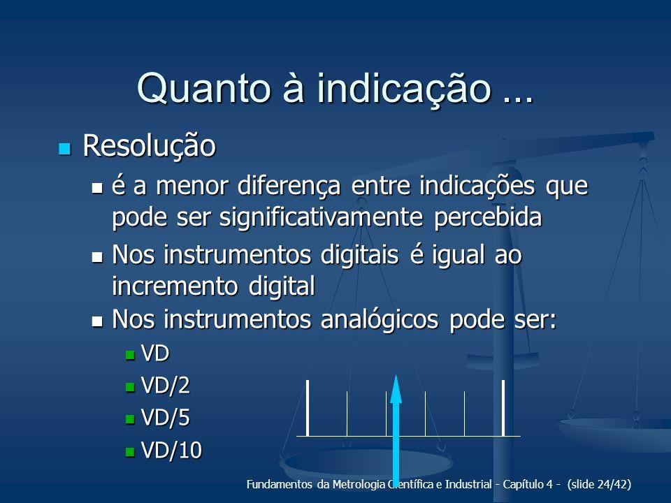 Fundamentos da Metrologia Científica e Industrial - Capítulo 4 - (slide 24/42) Quanto à indicação... Resolução Resolução é a menor diferença entre ind
