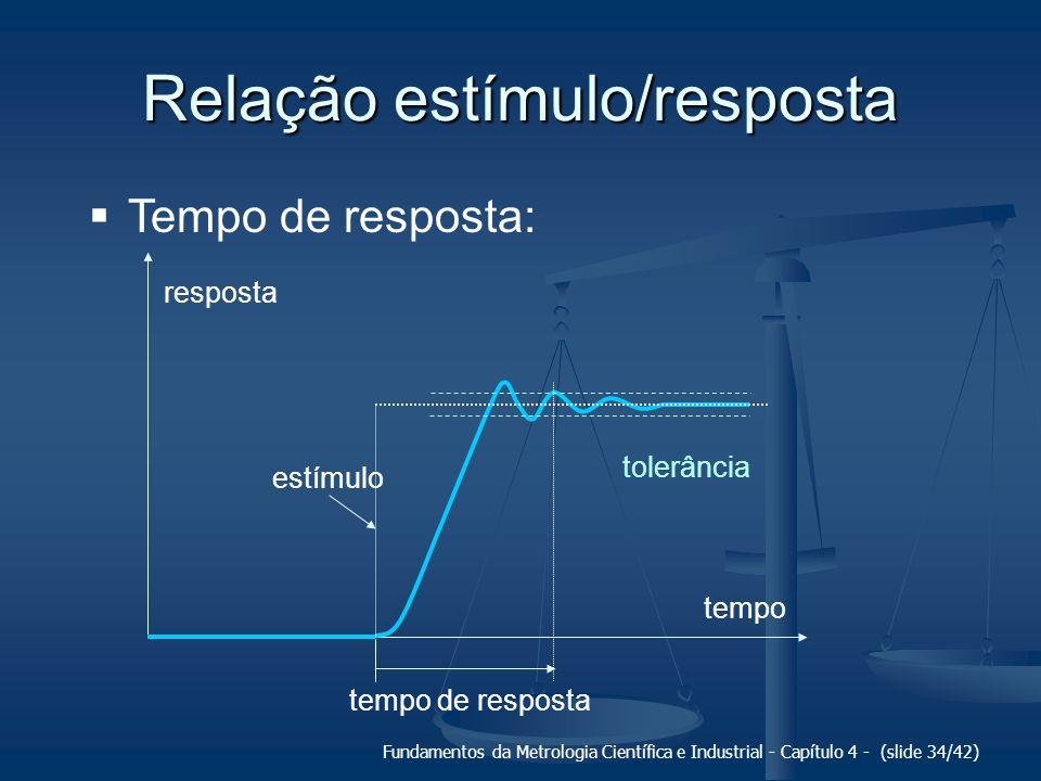 Fundamentos da Metrologia Científica e Industrial - Capítulo 4 - (slide 34/42) Relação estímulo/resposta Tempo de resposta: tolerância tempo resposta