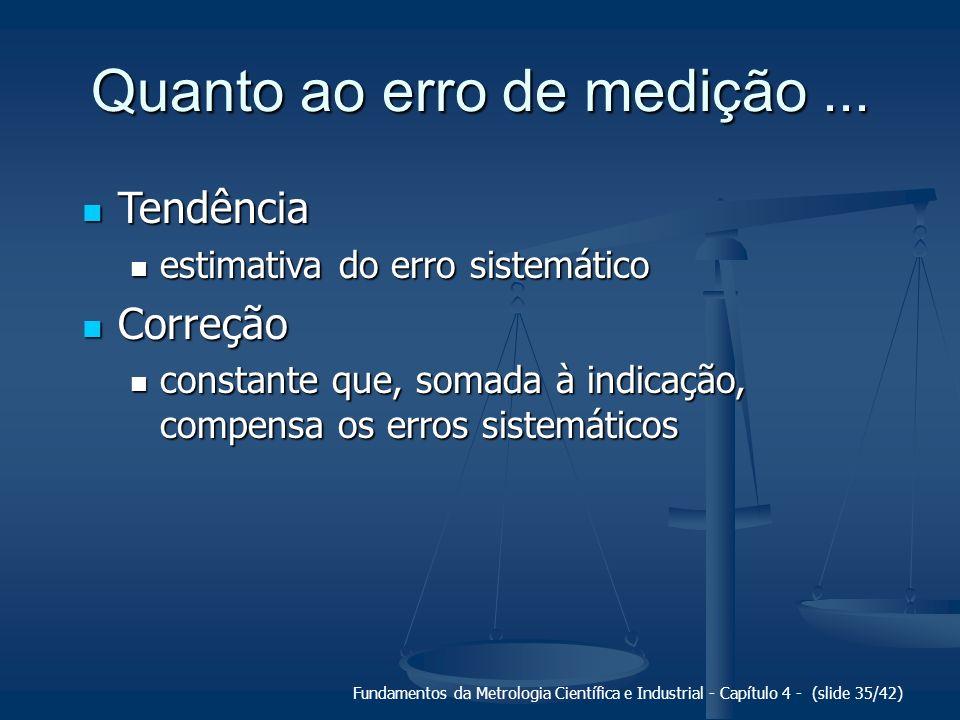 Fundamentos da Metrologia Científica e Industrial - Capítulo 4 - (slide 35/42) Quanto ao erro de medição... Tendência Tendência estimativa do erro sis