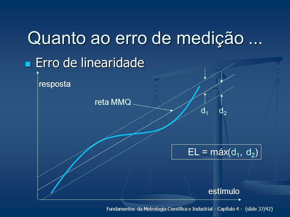 Fundamentos da Metrologia Científica e Industrial - Capítulo 4 - (slide 37/42) Quanto ao erro de medição... Erro de linearidade Erro de linearidade es