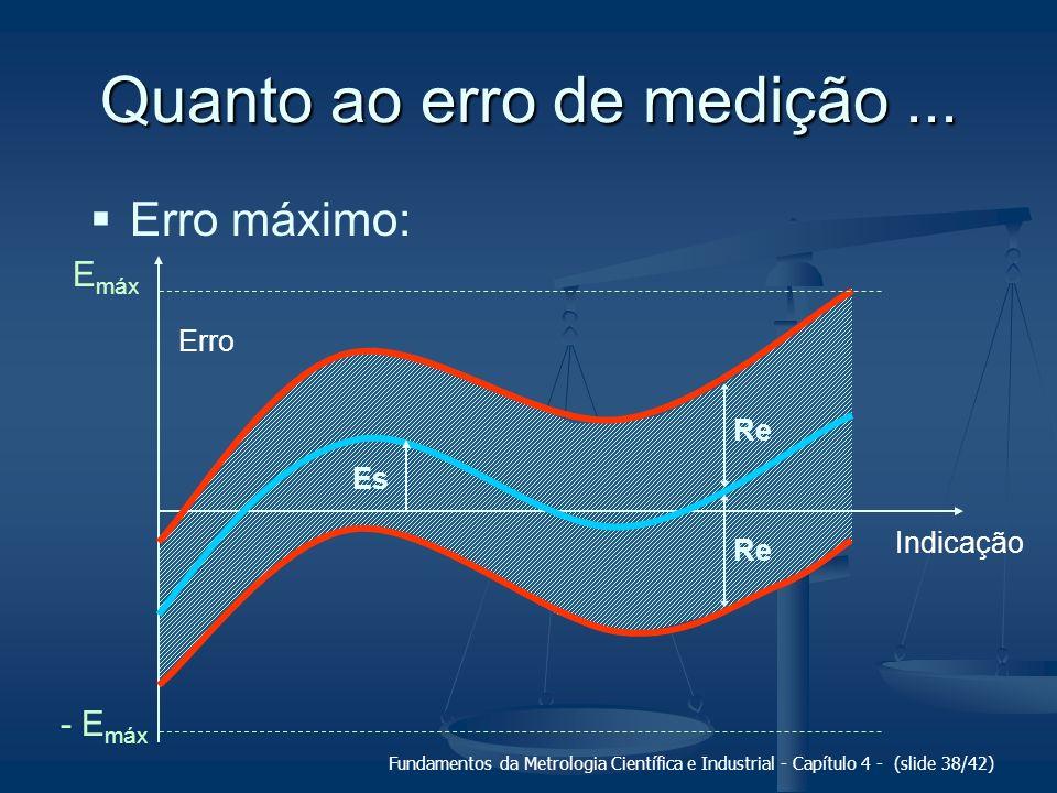 Fundamentos da Metrologia Científica e Industrial - Capítulo 4 - (slide 38/42) Quanto ao erro de medição... Erro máximo: Erro Indicação Es Re E máx -
