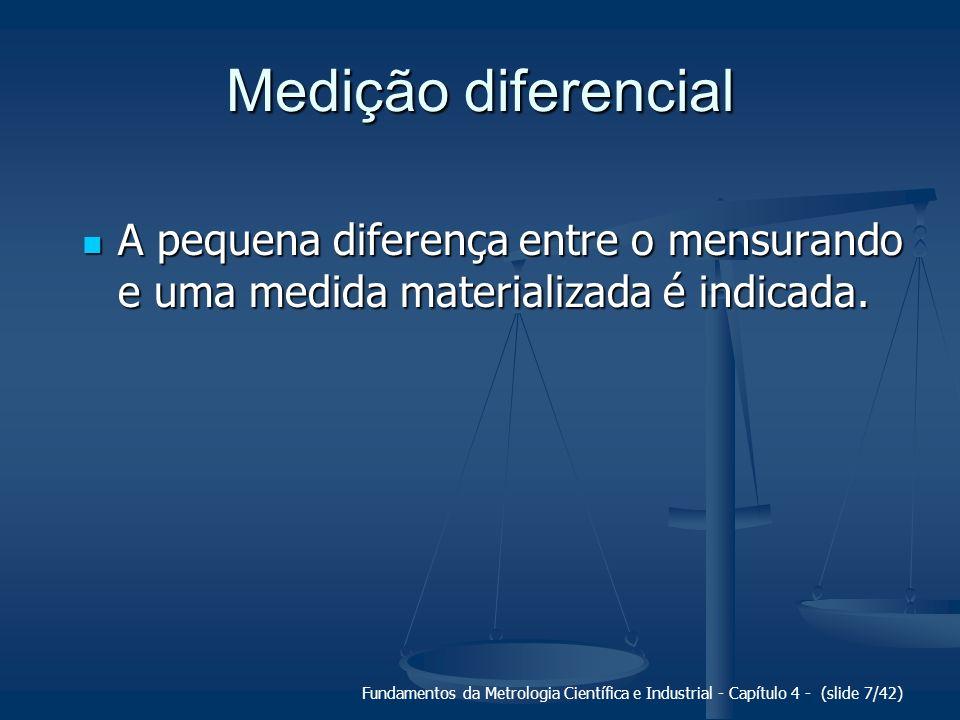 Fundamentos da Metrologia Científica e Industrial - Capítulo 4 - (slide 7/42) Medição diferencial A pequena diferença entre o mensurando e uma medida