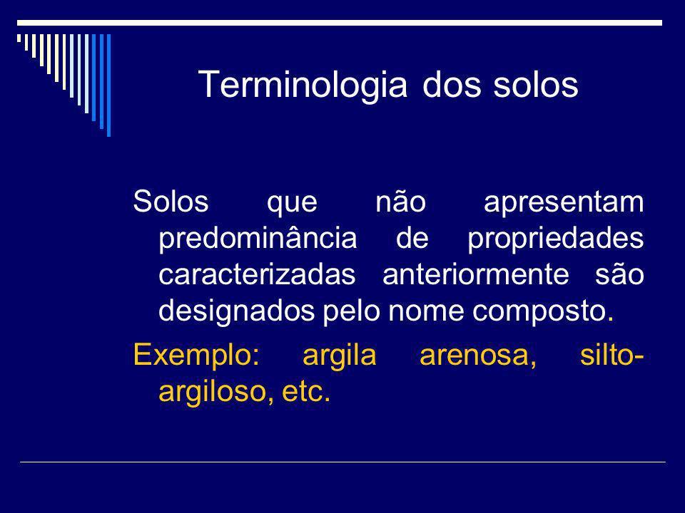 Terminologia dos solos Solos que não apresentam predominância de propriedades caracterizadas anteriormente são designados pelo nome composto. Exemplo: