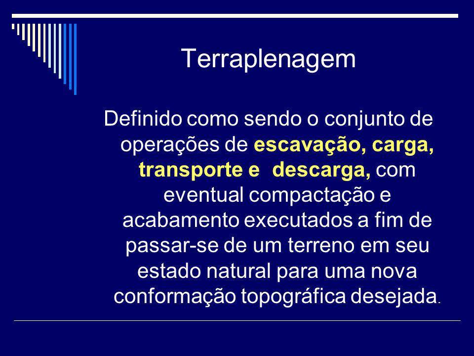 Terraplenagem Definido como sendo o conjunto de operações de escavação, carga, transporte e descarga, com eventual compactação e acabamento executados