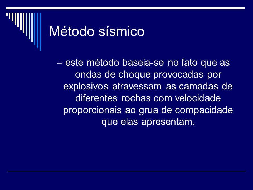 Método sísmico – este método baseia-se no fato que as ondas de choque provocadas por explosivos atravessam as camadas de diferentes rochas com velocid