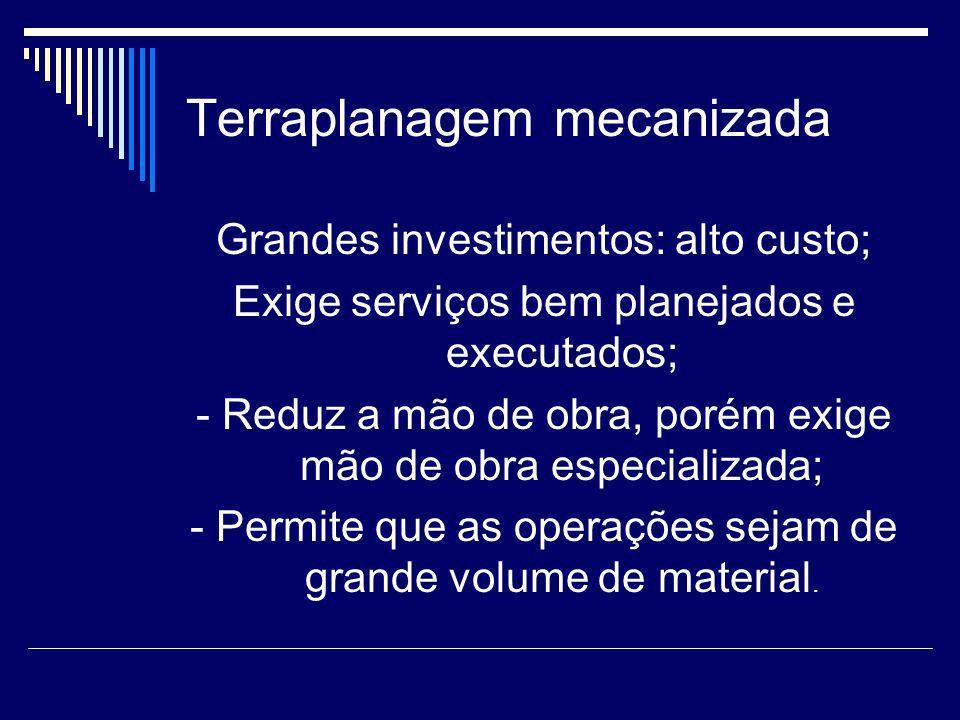 Terraplanagem mecanizada Grandes investimentos: alto custo; Exige serviços bem planejados e executados; - Reduz a mão de obra, porém exige mão de obra