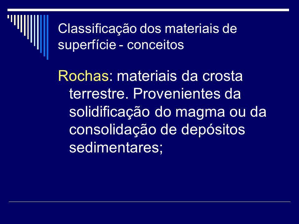 Classificação dos materiais de superfície - conceitos Rochas: materiais da crosta terrestre. Provenientes da solidificação do magma ou da consolidação