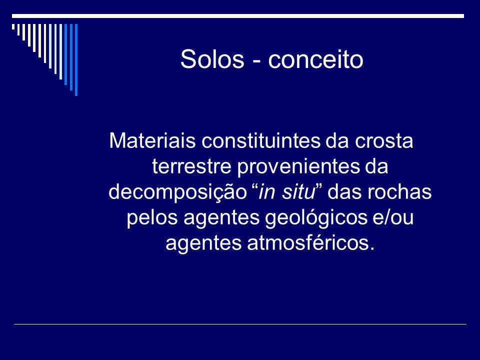 Solos - conceito Materiais constituintes da crosta terrestre provenientes da decomposição in situ das rochas pelos agentes geológicos e/ou agentes atm