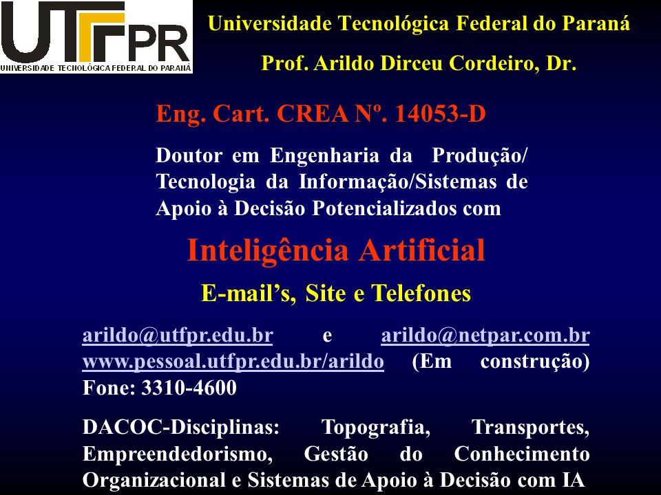 Universidade Tecnológica Federal do Paraná Prof. Arildo Dirceu Cordeiro, Dr. E-mails, Site e Telefones arildo@utfpr.edu.brarildo@utfpr.edu.br e arildo