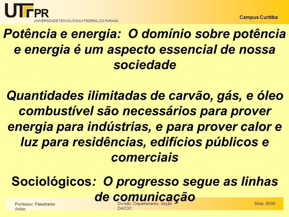 UNIVERSIDADE TECNOLÓGICA FEDERAL DO PARANÁ Campus Curitiba Slide: 00/00Divisão, Departamento, Seção DACOC Professor, Palestrante: Arildo Potência e en