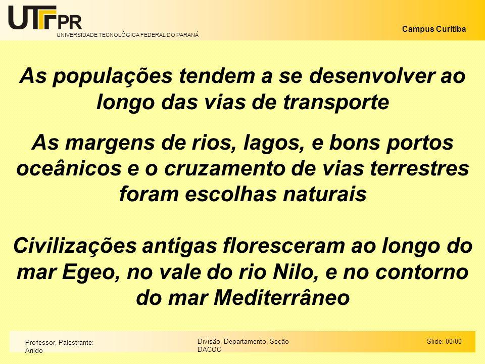 UNIVERSIDADE TECNOLÓGICA FEDERAL DO PARANÁ Campus Curitiba Slide: 00/00Divisão, Departamento, Seção DACOC Professor, Palestrante: Arildo As populações