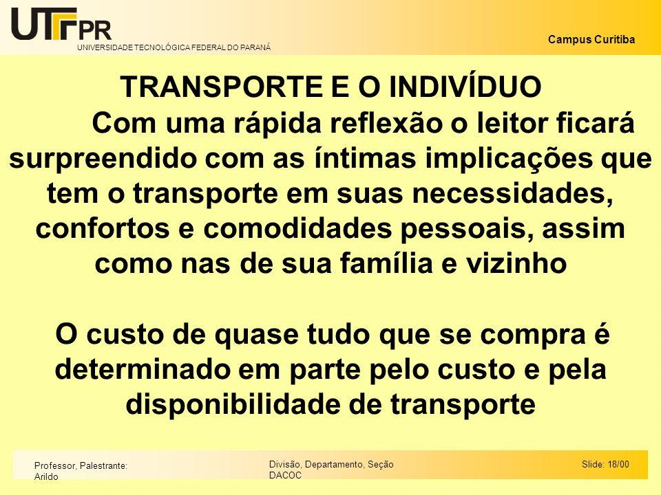 UNIVERSIDADE TECNOLÓGICA FEDERAL DO PARANÁ Campus Curitiba Slide: 18/00Divisão, Departamento, Seção DACOC Professor, Palestrante: Arildo TRANSPORTE E