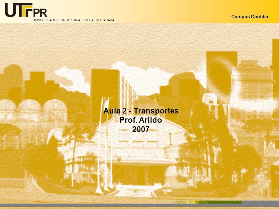 UNIVERSIDADE TECNOLÓGICA FEDERAL DO PARANÁ Campus Curitiba Aula 2 - Transportes Prof. Arildo 2007