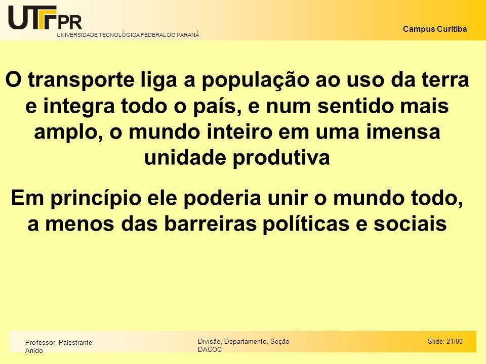 UNIVERSIDADE TECNOLÓGICA FEDERAL DO PARANÁ Campus Curitiba Slide: 21/00Divisão, Departamento, Seção DACOC Professor, Palestrante: Arildo O transporte