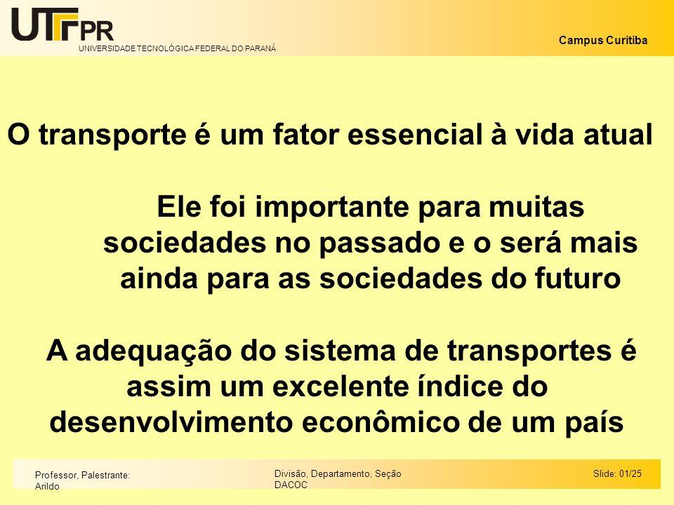 UNIVERSIDADE TECNOLÓGICA FEDERAL DO PARANÁ Campus Curitiba Slide: 01/25Divisão, Departamento, Seção DACOC Professor, Palestrante: Arildo O transporte