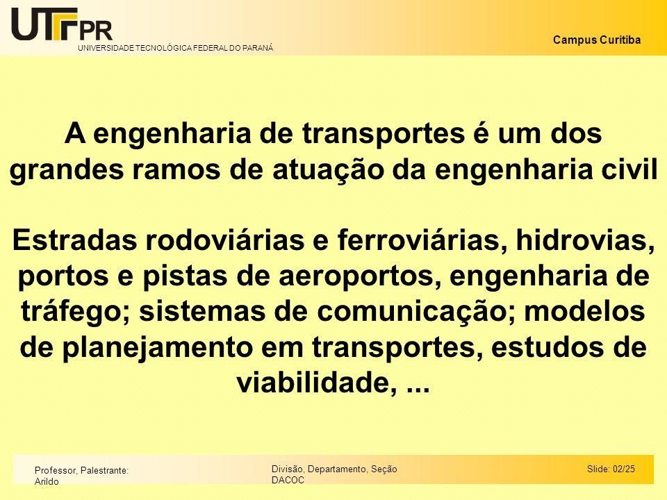 UNIVERSIDADE TECNOLÓGICA FEDERAL DO PARANÁ Campus Curitiba Slide: 02/25Divisão, Departamento, Seção DACOC Professor, Palestrante: Arildo A engenharia