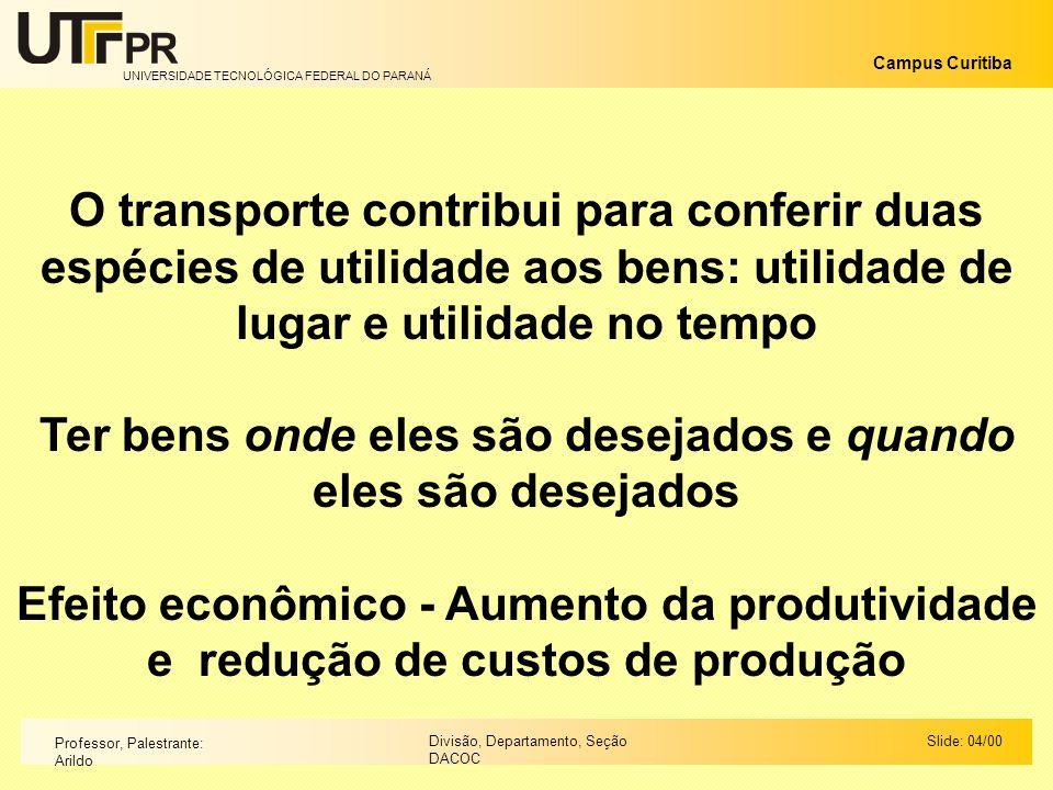 UNIVERSIDADE TECNOLÓGICA FEDERAL DO PARANÁ Campus Curitiba Slide: 04/00Divisão, Departamento, Seção DACOC Professor, Palestrante: Arildo O transporte
