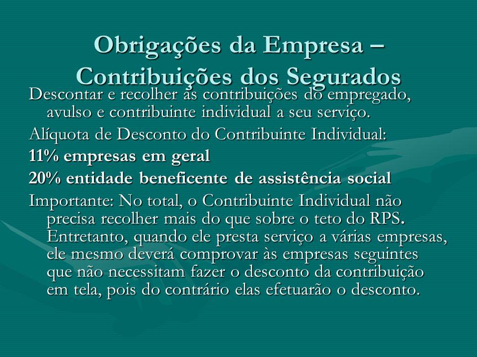 Obrigações da Empresa – Contribuições dos Segurados Descontar e recolher as contribuições do empregado, avulso e contribuinte individual a seu serviço