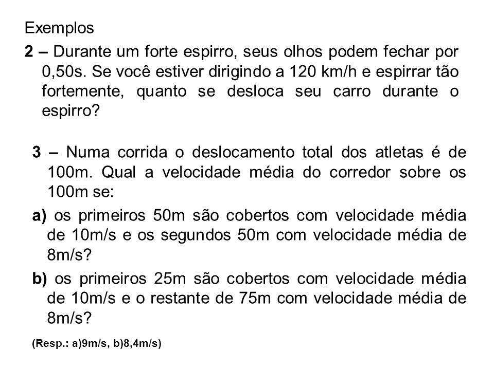 Exemplos 2 – Durante um forte espirro, seus olhos podem fechar por 0,50s. Se você estiver dirigindo a 120 km/h e espirrar tão fortemente, quanto se de
