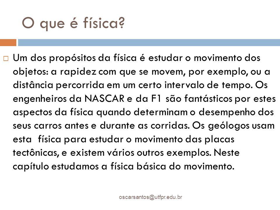 Mecânica oscarsantos@utfpr.edu.br MECÂNICA: ramo da física em que se estuda o movimento.