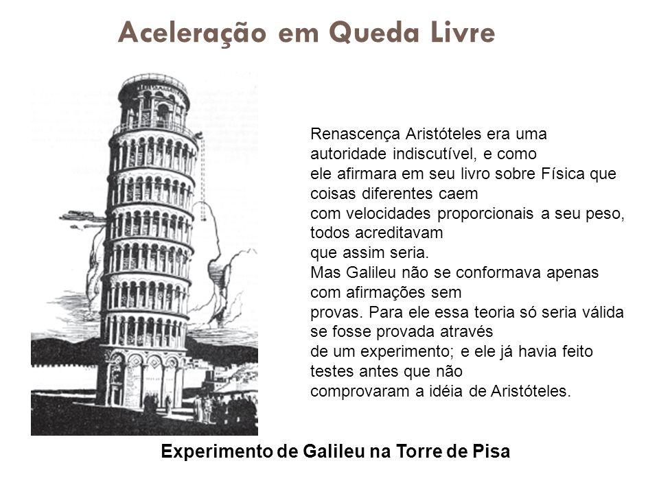 Experimento de Galileu na Torre de Pisa Renascença Aristóteles era uma autoridade indiscutível, e como ele afirmara em seu livro sobre Física que cois