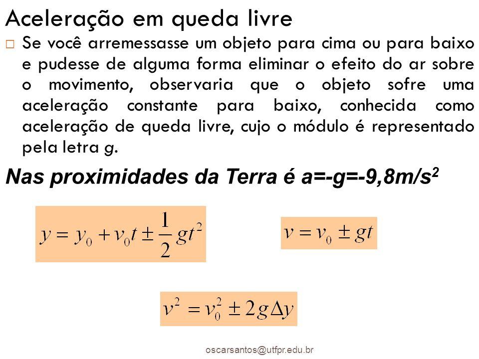 Aceleração em queda livre oscarsantos@utfpr.edu.br Se você arremessasse um objeto para cima ou para baixo e pudesse de alguma forma eliminar o efeito