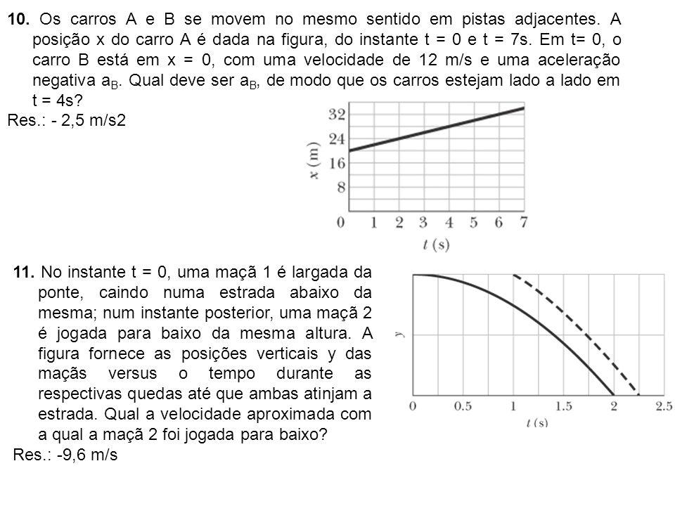 10. Os carros A e B se movem no mesmo sentido em pistas adjacentes. A posição x do carro A é dada na figura, do instante t = 0 e t = 7s. Em t= 0, o ca