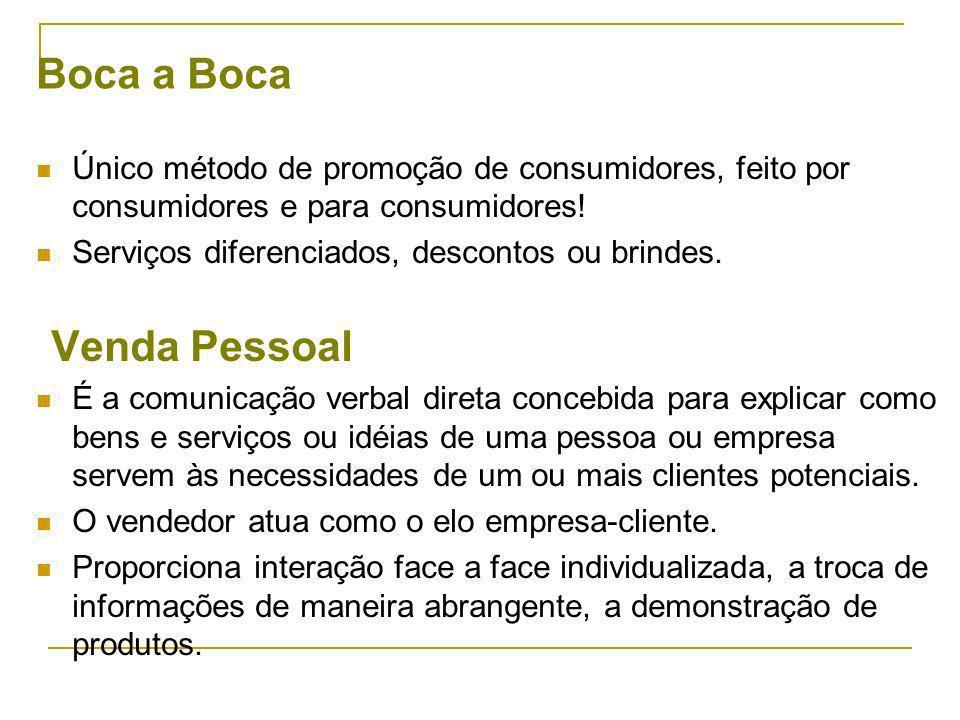 Boca a Boca Único método de promoção de consumidores, feito por consumidores e para consumidores.