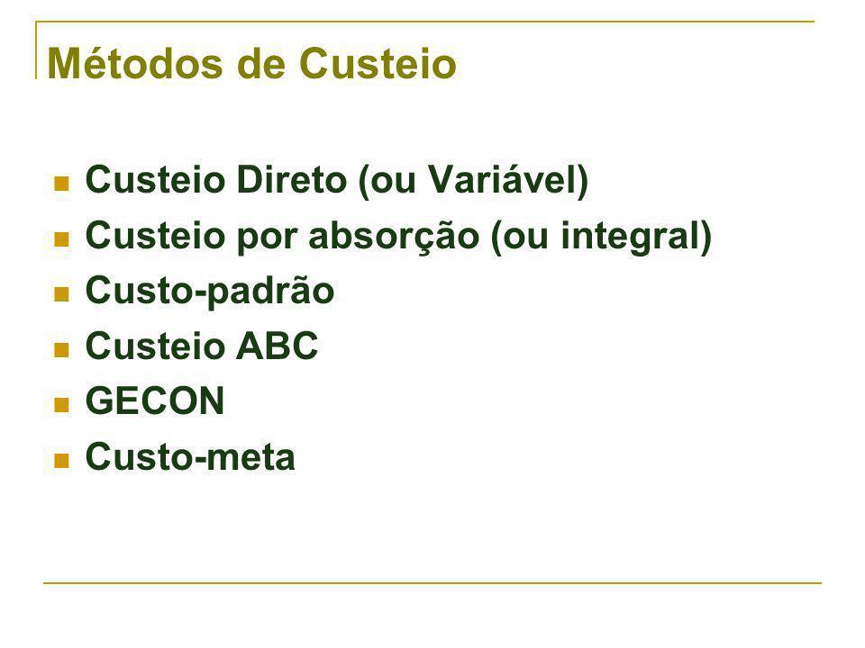 Métodos de Custeio Custeio Direto (ou Variável) Custeio por absorção (ou integral) Custo-padrão Custeio ABC GECON Custo-meta
