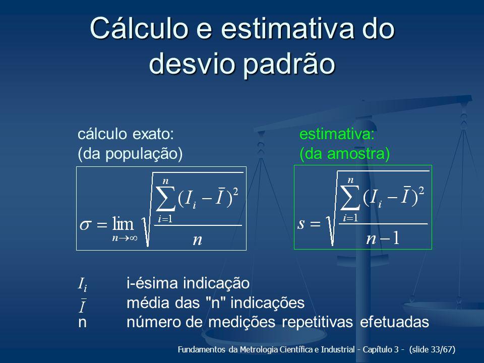 Fundamentos da Metrologia Científica e Industrial - Capítulo 3 - (slide 34/67) Incerteza padrão (u) medida da intensidade da componente aleatória do erro de medição.