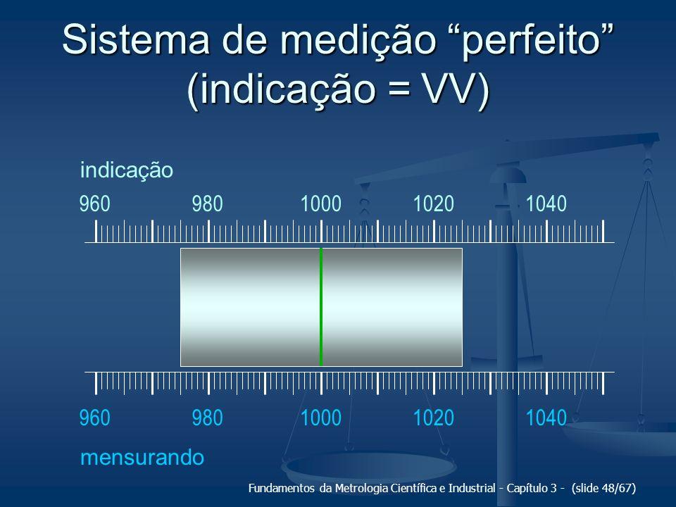 Fundamentos da Metrologia Científica e Industrial - Capítulo 3 - (slide 49/67) Sistema de medição com erro sistemático apenas 100010201040960980 mensurando 100010201040960980 indicação +Es