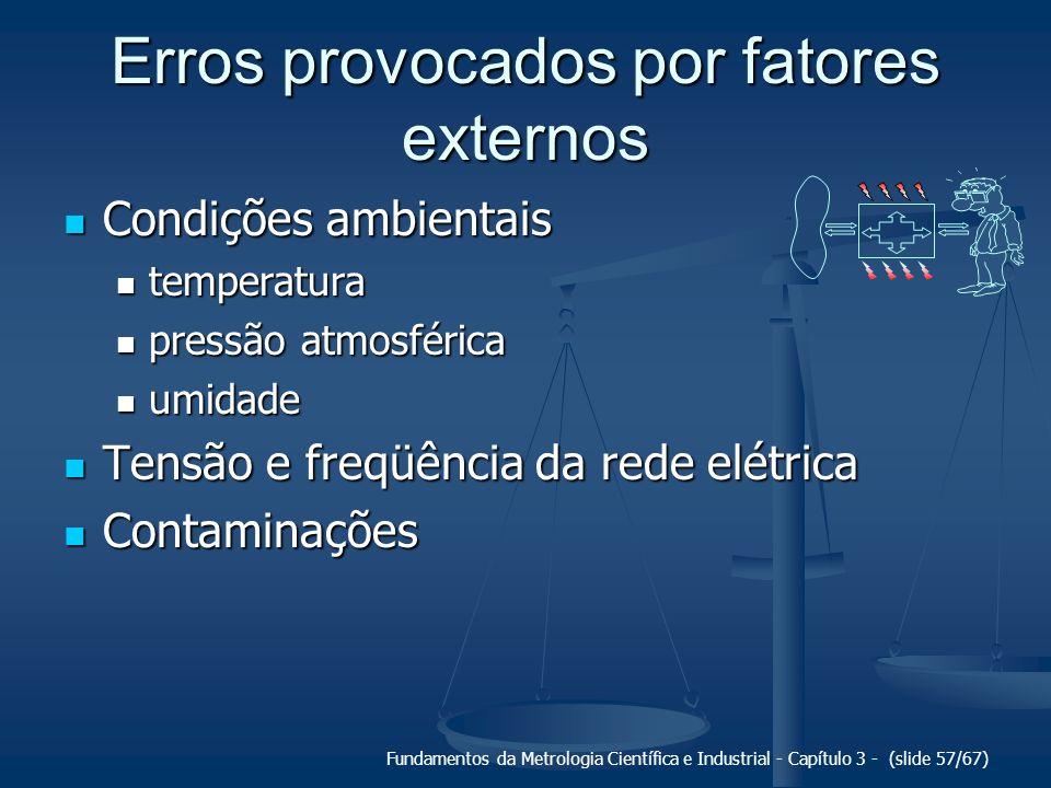 Fundamentos da Metrologia Científica e Industrial - Capítulo 3 - (slide 58/67) Erros provocados por retroação A presença do sistema de medição modifica o mensurando.