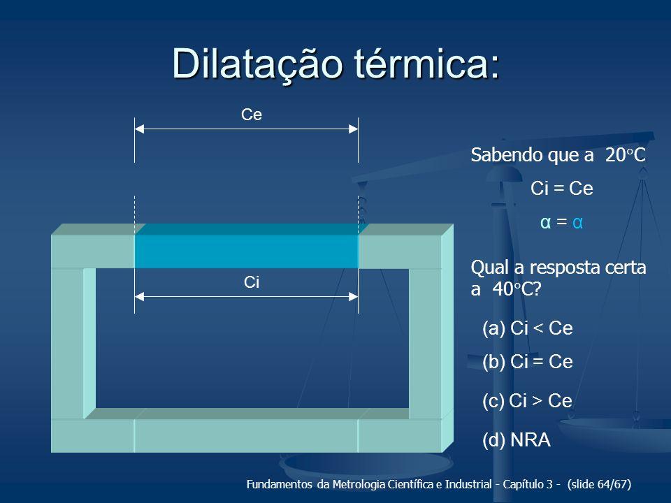 Fundamentos da Metrologia Científica e Industrial - Capítulo 3 - (slide 65/67) Dilatação térmica: (a) Ci < Ce (b) Ci = Ce (c) Ci > Ce (d) NRA
