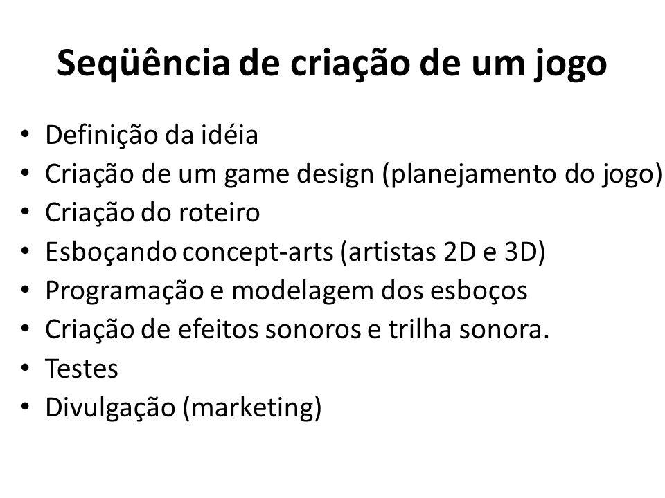 Seqüência de criação de um jogo Definição da idéia Criação de um game design (planejamento do jogo) Criação do roteiro Esboçando concept-arts (artistas 2D e 3D) Programação e modelagem dos esboços Criação de efeitos sonoros e trilha sonora.
