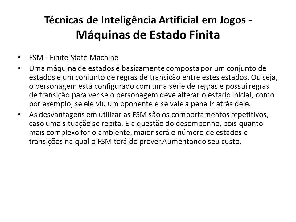 Técnicas de Inteligência Artificial em Jogos - Máquinas de Estado Finita FSM - Finite State Machine Uma máquina de estados é basicamente composta por um conjunto de estados e um conjunto de regras de transição entre estes estados.