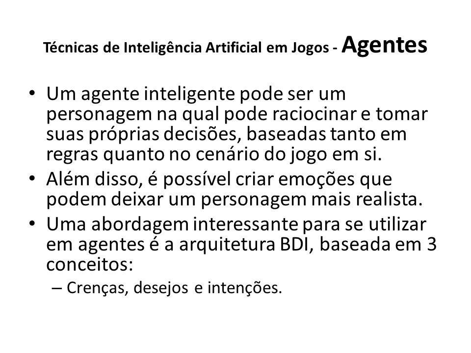 Técnicas de Inteligência Artificial em Jogos - Agentes Um agente inteligente pode ser um personagem na qual pode raciocinar e tomar suas próprias decisões, baseadas tanto em regras quanto no cenário do jogo em si.