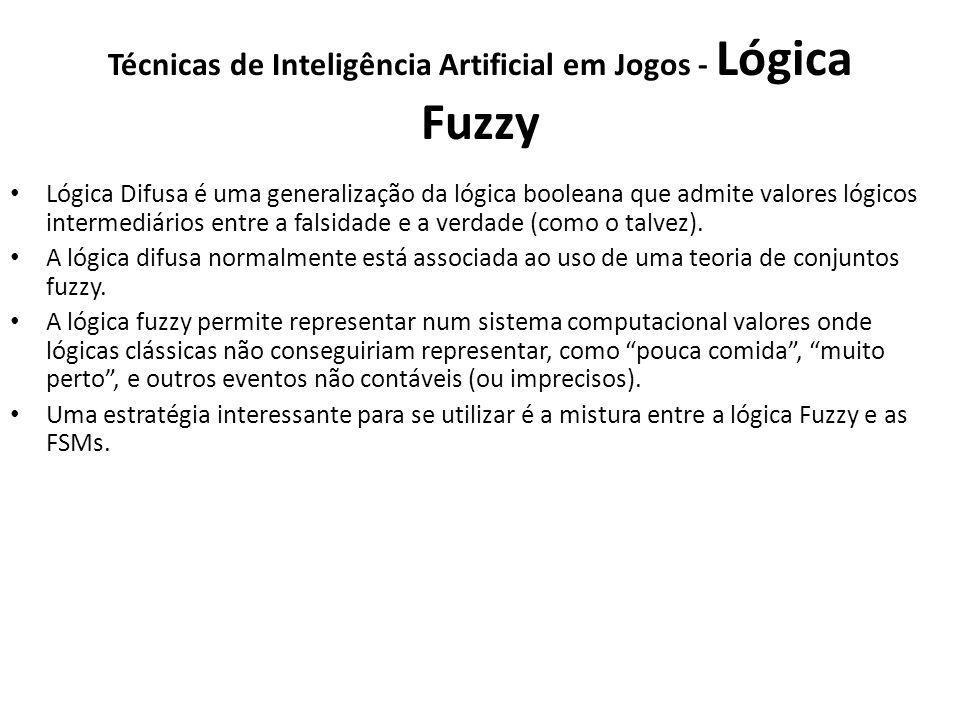 Técnicas de Inteligência Artificial em Jogos - Lógica Fuzzy Lógica Difusa é uma generalização da lógica booleana que admite valores lógicos intermediários entre a falsidade e a verdade (como o talvez).