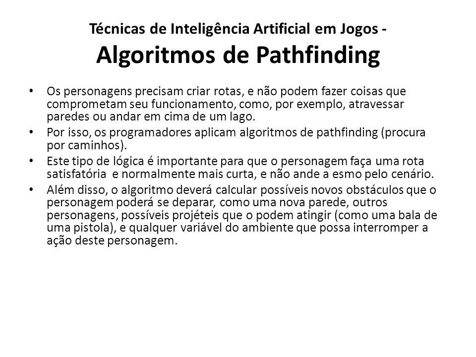 Técnicas de Inteligência Artificial em Jogos - Algoritmos de Pathfinding Os personagens precisam criar rotas, e não podem fazer coisas que comprometam seu funcionamento, como, por exemplo, atravessar paredes ou andar em cima de um lago.