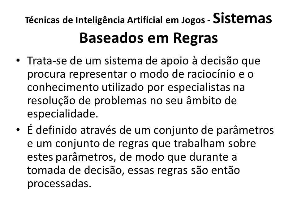 Técnicas de Inteligência Artificial em Jogos - Sistemas Baseados em Regras Trata-se de um sistema de apoio à decisão que procura representar o modo de raciocínio e o conhecimento utilizado por especialistas na resolução de problemas no seu âmbito de especialidade.